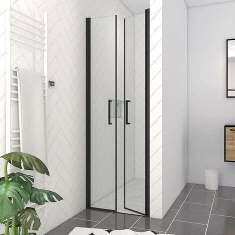 paroi de douche double portes pivotantes flappy black. Black Bedroom Furniture Sets. Home Design Ideas
