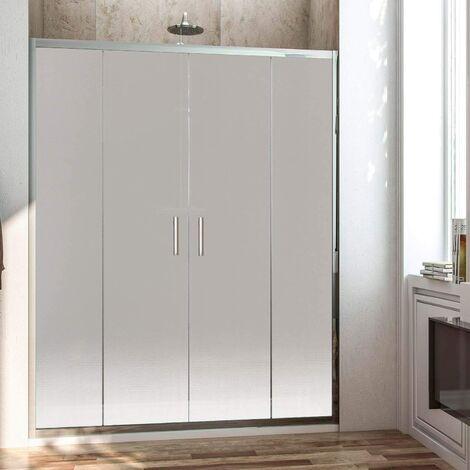 Paroi de douche frontale avec ouverture centrale. 2 panneaux fixes avec 2 portes coulissantes en verre translucide profil noir 200CM