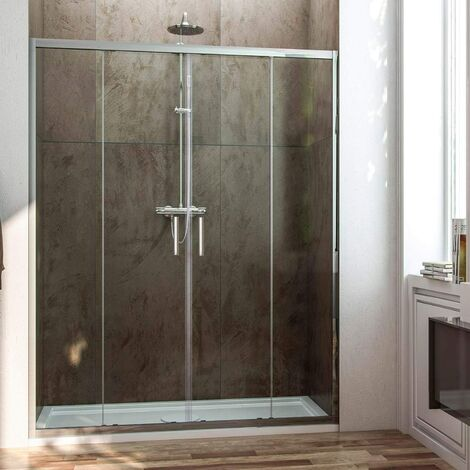 Paroi de douche frontale avec ouverture centrale. 2 panneaux fixes avec 2 portes coulissantes en verre transparent profil noir 200CM