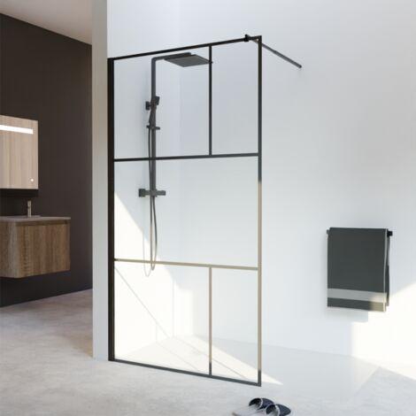 Paroi de douche industrielle noire Atelia verre 8 mm - 110x200 cm