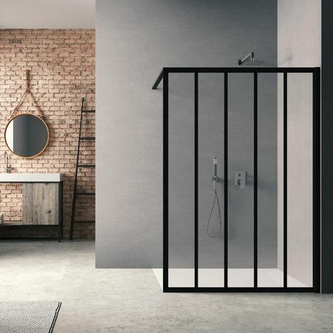 Paroi de douche Loft Classic H200 x L140 cm Noir mat / 4 barrettes