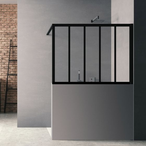 Paroi de douche Loft Wall H140 x L100 cm - Noir Mat / 2 barrettes