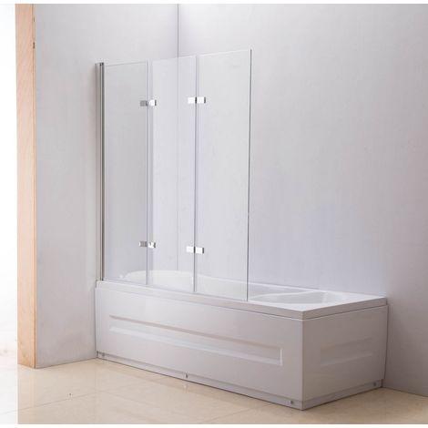 Paroi de douche Nano pour baignoire 3 portes verre clair links