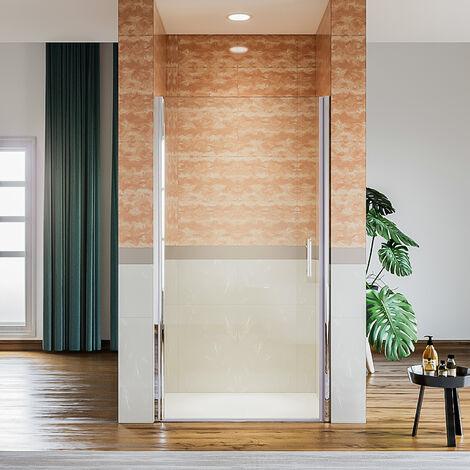 Paroi de douche pliante 80/90/120x195 cm, porte double de douche centrale ouverte à l'avant, paroi de douche pliante avec verre trempé 5 mm