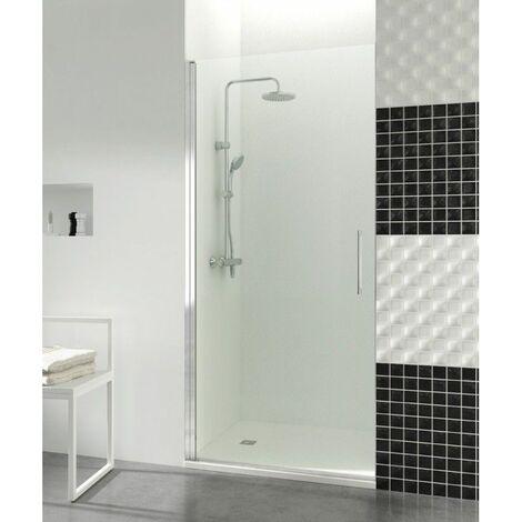 Paroi de douche porte battante 195x50cm 6mm profilé aluminium Helia - Transparent