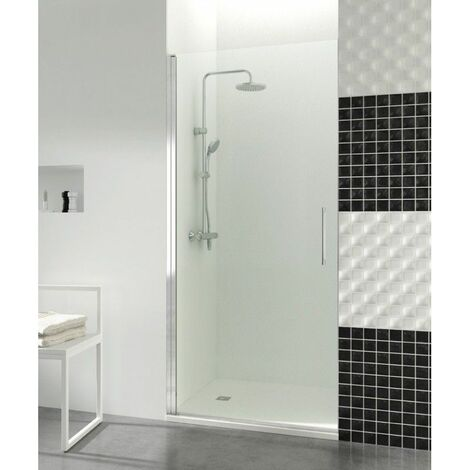 Paroi de douche porte battante 195x65cm 6mm profilé aluminium Helia - Transparent