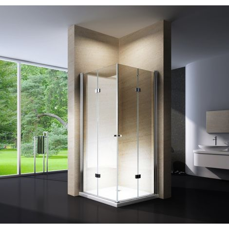 Paroi de douche porte pliante, en verre véritable NANO 6 mm, EX213 - 90 x 90 x 195 cm - pour installation en coin