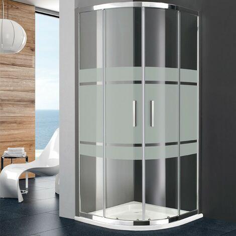 Paroi de douche PRESTIGE semi-circulaire 90x90 - Verre: Frost Rayon Standard - Cotes 86,5-89