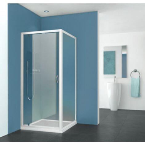 Paroi de douche Pyra fixe profil blanc verre transparent Aquance