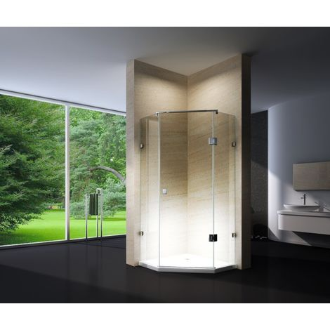 Paroi de douche sans cadre pentagonale en verre véritable NANO EX415 - 100x100x195cm