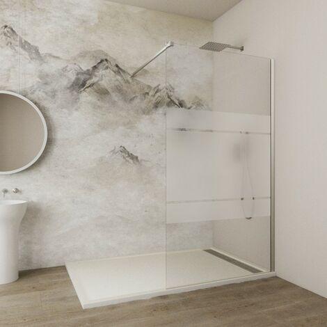 Paroi de douche SCREEN verre fixe 8 mm avec anticalcaire Décoré: Frost - Verre fixe 118x195 + bras support