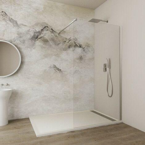 Paroi de douche SCREEN verre fixe 8 mm avec anticalcaire Décoré: Transparent - Verre fixe 118x195 + bras support