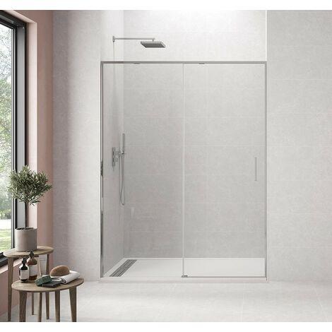 """Paroi de douche TWENTY fixe + coulissant avec fermeture amortie \""""soft-close\"""" Mesure: 150-155 cm"""