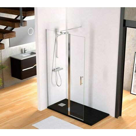 Paroi de douche walk-in avec porte pivotante à 180º cristal
