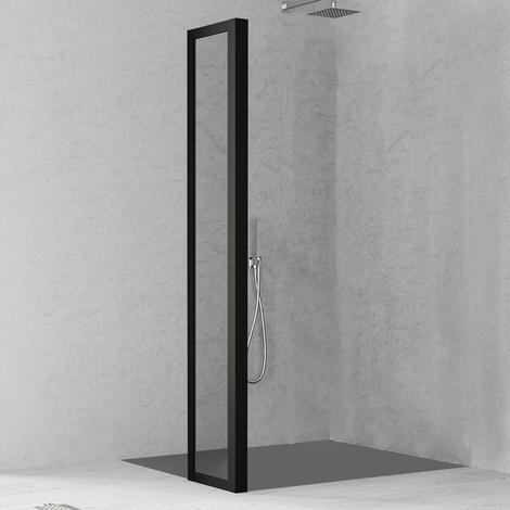 Paroi de retour pour paroi de douche Loft Noir mat - H200xL36 cm- LOFTR36SCLN