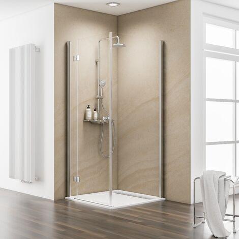Paroi de retour pour porte de douche pivotante, verre 6 mm anticalcaire, profilé en aspect chromé, MasterClass, Schulte, 80 x 200 cm