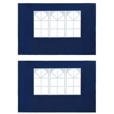 Paroi de tente de réception 2 pcs avec fenêtre PE Bleu