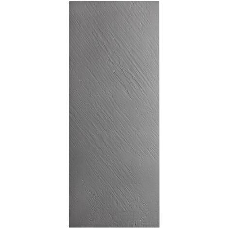 Paroi fond de douche en r_sine imitation pierre gris taupe avec natte _tanche int_gr_e