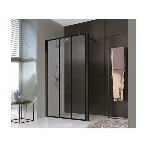 Paroi Jazz Plus Style Loft - Fixe - 1200mm - Noir mat - Verre sérigraphié