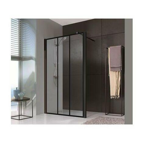 Paroi Jazz Plus Style Loft - Fixe - 900 - Noir mat - Verre sérigraphié
