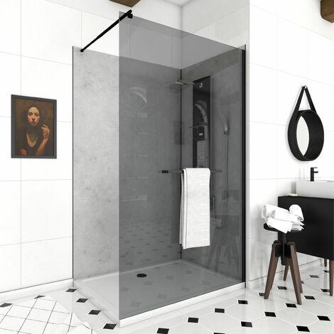 Paroi porte de douche 120 x 200 cm en verre fumé 8mm avec profile et barre de fixation noir mat - Darkness 120