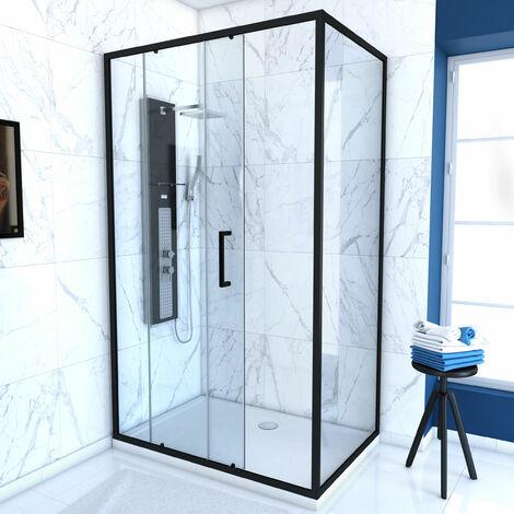 Paroi porte de douche a porte coulissante - 120x200cm - PORTE COULISSANTE - PROFILE NOIR MAT