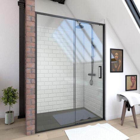 """main image of """"Paroi porte de douche à porte coulissante - PROFILE NOIR MAT - verre transparent 6mm - divers tailles 100 120 140 - CRUSH"""""""