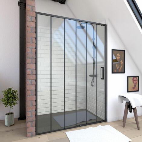 Paroi porte de douche à porte coulissante sérigraphié - 140x200cm - PORTE COULISSANTE - PROFILE NOIR MAT - verre transparent 6mm - CRUSHX 140