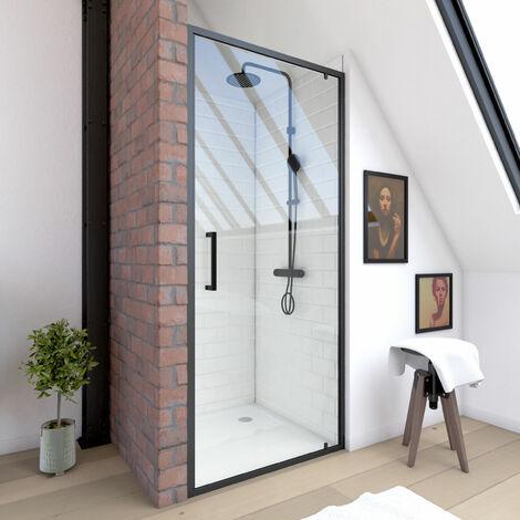 """main image of """"Paroi porte de douche a porte pivotante - dim: 90x200cm - PROFILE NOIR MAT - verre transparent 6mm"""""""
