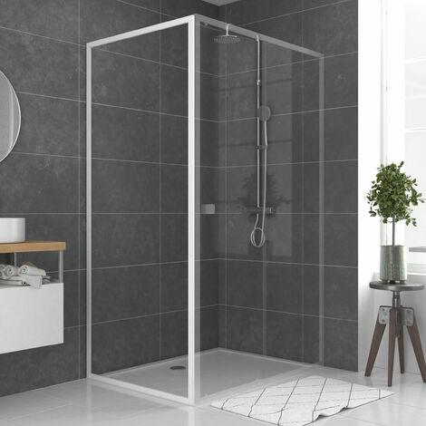 Paroi porte de douche blanc - verre transparent 5mm - divers tailles et formes - WHITY