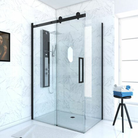 PAROI PORTE DE DOUCHE COULISSANTE 120x200 cm noir mat - rail soft close + RETOUR 90 cm
