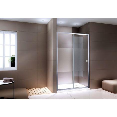 Paroi porte de douche en niche NANO verre véritable EX505 - satiné partiel - hauteur 195cm - choix de lageur sélectionnable