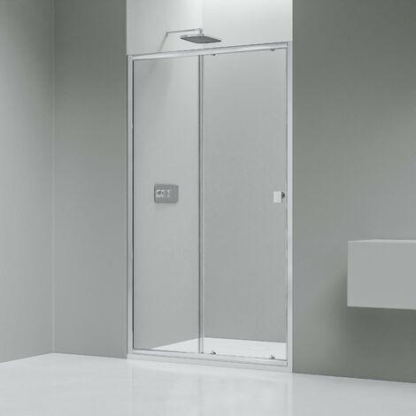 Paroi porte de douche en niche - NANO verre véritable transparent EX505 - hauteur 195cm - choix de largeur sélectionnable