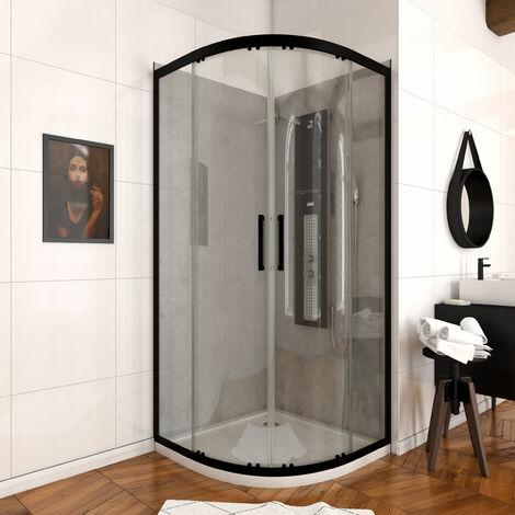 Paroi porte de douche quart de cercle - CRUSH ROUND 90- 90x90x200cm - PROFILE NOIR MAT - verre transparent 6mm