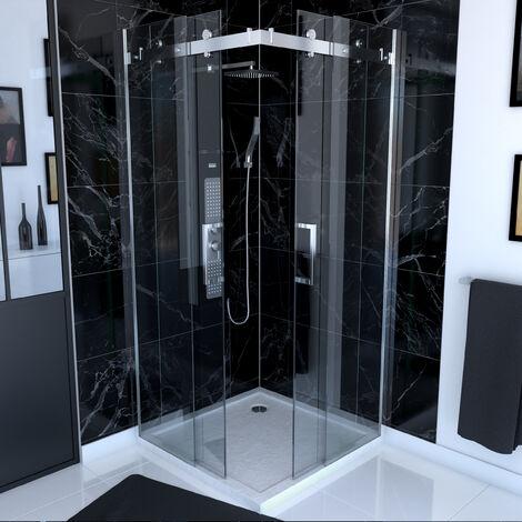 Paroi porte de douche type industriel ouverture d'angle - 90x90x190 - verre trempé 8mm - RAILROAD 90 SQUARE