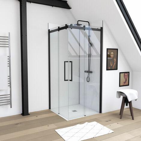 Paroi porte de douche type industriel ouverture d\'angle profiles noir mat - verre trempe 8mm