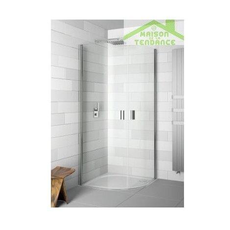 Parois de douche ¼ de rond battante universelles RIHO NAUTIC N308 90x90x200 cm en verre clair
