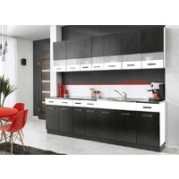 PAROS | Cuisine Complète 2,6 m | 8 pcs + Plan de travail INCLUS | Ensemble meubles de cuisine linéaires | Armoires cuisine | Noir/Blanc