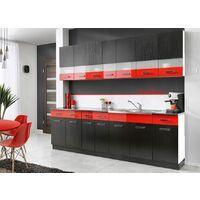 PAROS | Cuisine Complète L 2,6 m 8 pcs + Plan de travail INCLUS | Ensemble meubles de cuisine linéaires | Armoires cuisine | Noir/Rouge
