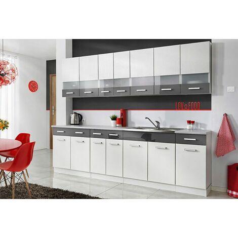 PAROS | Cuisine Complète L 260 cm | 8 pcs + Plan de travail INCLUS | Ensemble meubles de cuisine linéaires | Armoires cuisine | Blanc/Gris - Blanc/Gris