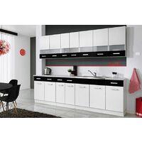 PAROS | Cuisine Complète L 260 cm 8 pcs + Plan de travail INCLUS | Ensemble meubles de cuisine linéaires | Armoires cuisine | Blanc/Noir