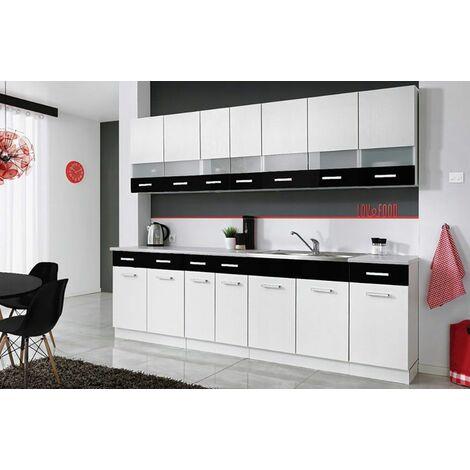 PAROS | Cuisine Complète L 260 cm 8 pcs + Plan de travail INCLUS | Ensemble meubles de cuisine linéaires | Armoires cuisine | Blanc/Noir - Blanc/Noir