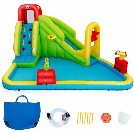 Parque Acuático Centro Juegos Hinchable con Tobogán 400x335x230cm Piscina para Niños Sin Soplador
