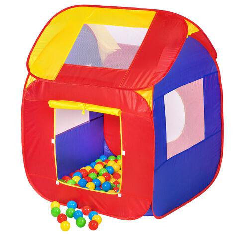 Parque de bolas con 200 bolas - parque infantil con bolas de colores, tienda de juegos plegable con techo desmontable, casita infantil de juegos - Varios colores