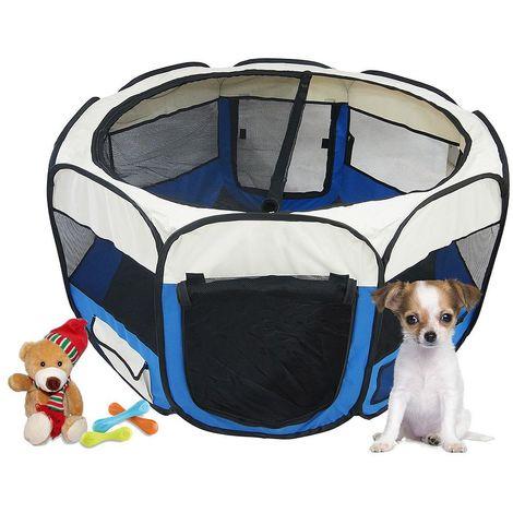 Parque de Juegos para Mascotas, Parque para Animales Pequeños, Azul, Material: Poliéster recubierto de PVC