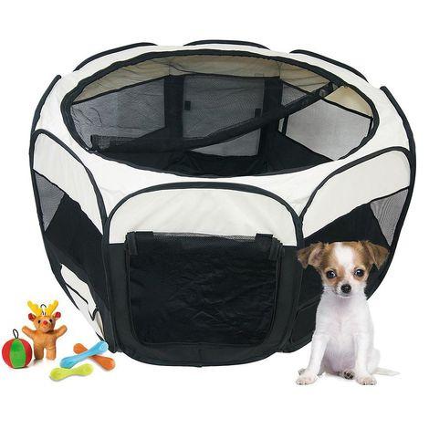 Parque de Juegos para Mascotas, Parque para Animales Pequeños, Negro, Material: Poliéster recubierto de PVC