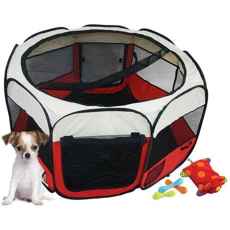Parque de Juegos para Mascotas, Parque para Animales Pequeños, Rojo, Material: Poliéster recubierto de PVC
