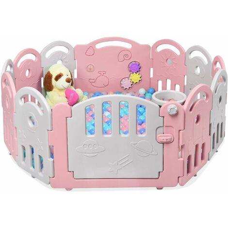 Parque Infantil Bebé con 12 Paneles Plegable Centro de Actividad para Niños Barrera de Seguridad con Puerta con Juegos para Niños (Rosa y gris)