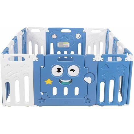 Parque Infantil Bebé con 16 Paneles Centro de Actividad para Niños Barrera de Seguridad con Puerta Valla de Juego para Niños de 3 Meses a 6 Años