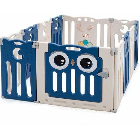Parque Infantil Bebé de 12 Paneles Plegable Centro de Actividad para Niños Barrera de Seguridad con Puerta y Panel de Juguetes Azul oscuro